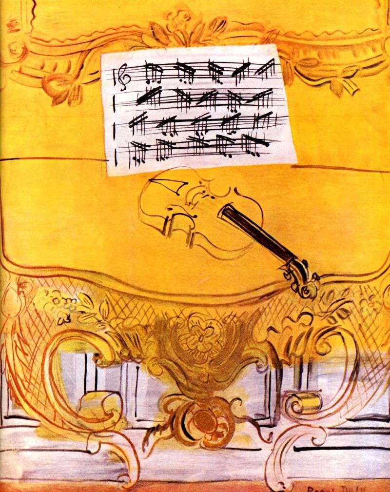 Żółty Harmonium ze skrzypcami   Raoul Dufy