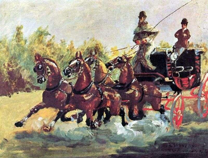 Hrabia Alfons de Toulouse Lautrec rządzi saniami czterech koni   Henri de Toulouse Lautrec