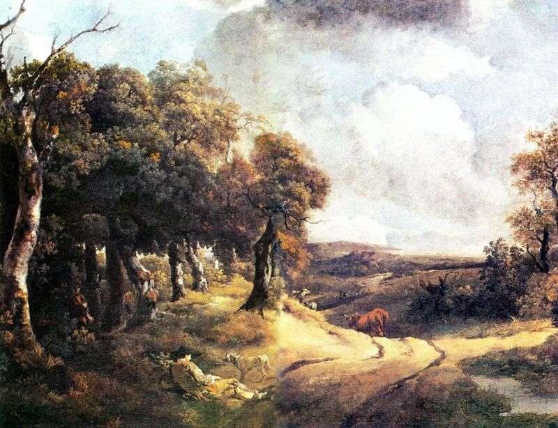 Droga przez las i chłopiec z psem   Thomas Gainsborough