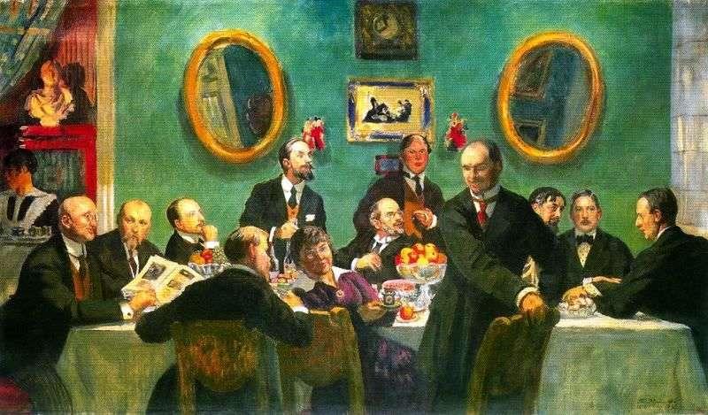 Grupowy portret artystów ze świata sztuki   Boris Kustodiew
