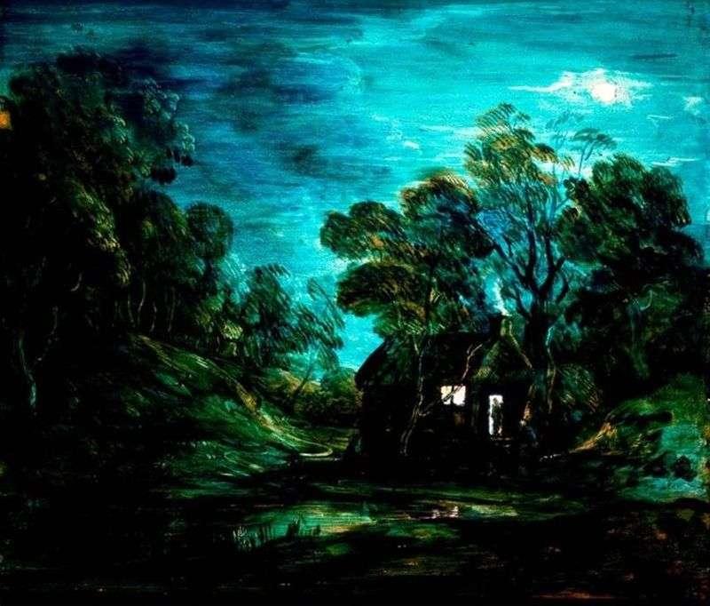 Księżycowy krajobraz z domem   Thomas Gainsborough