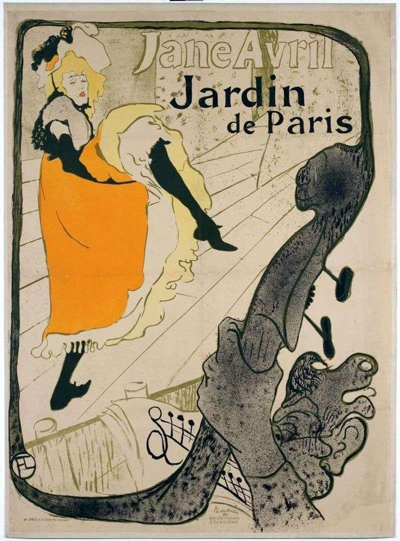 Jane Avril (Jane Avril w Jardin de Paris)   Henri de Toulouse Lautrec