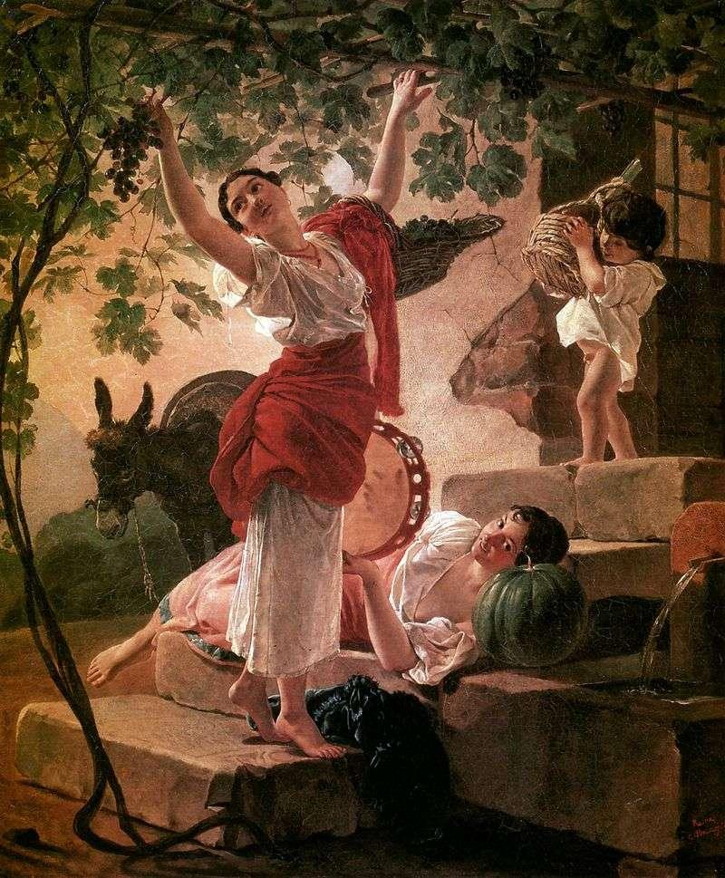Dziewczyna zbierająca winogrona   Karl Brullov