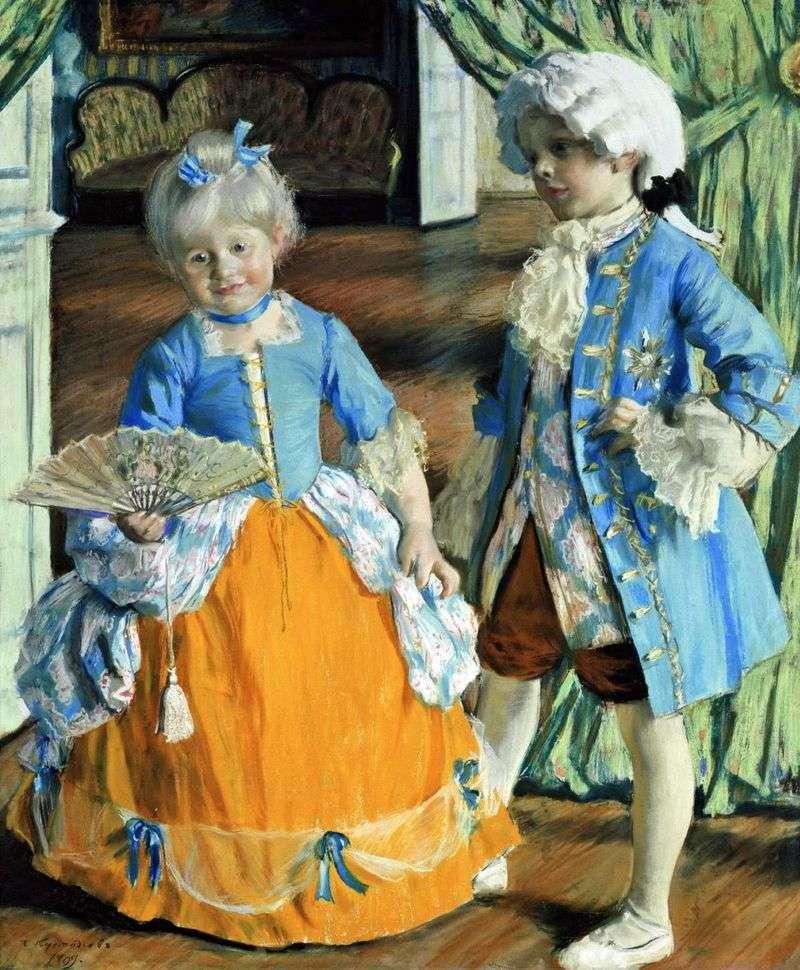 Dzieci w eleganckim stroju   Boris Kustodiew