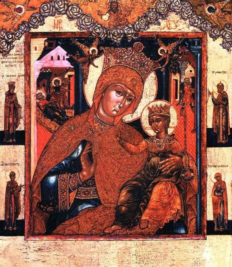 Matka Boża przed Bożym Narodzeniem i po Bożym Narodzeniu Dziewica ze świętymi na polach
