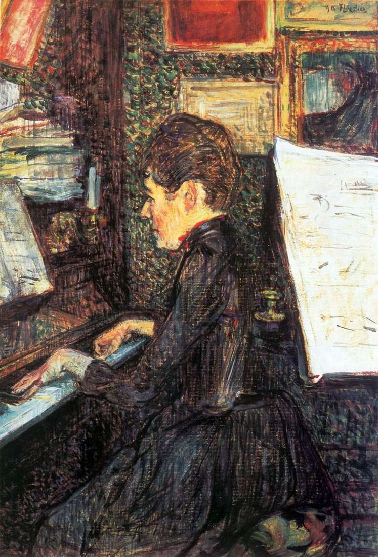 Mademoiselle Dio przy fortepianie   Henri de Toulouse Lautrec