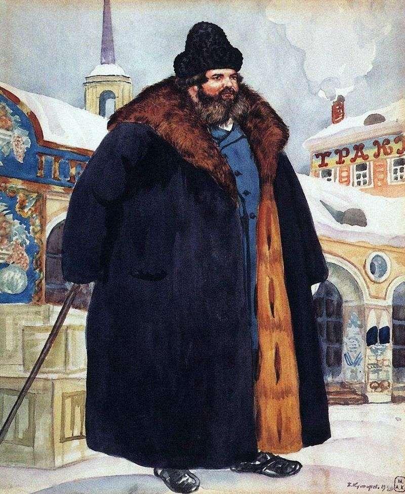 Kupiec w futrze   Kustodiew