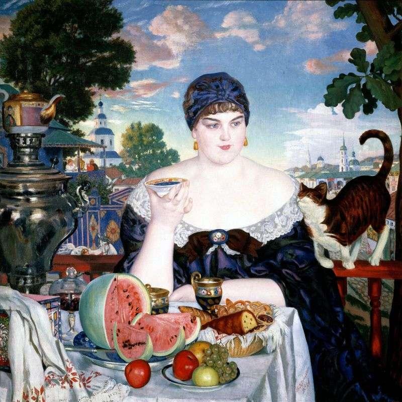 Tradeswoman do herbaty   Boris Kustodiew