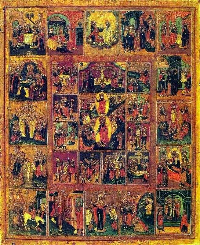Zmartwychwstanie Chrystusa z ucztami i pasjami Chrystusa
