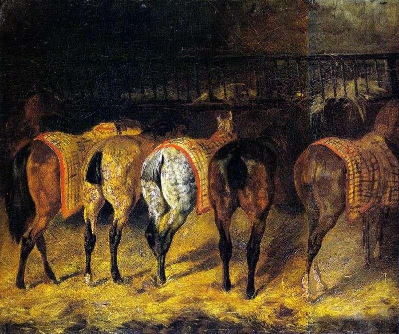 Pięć koni skręconych zadem w stajni   Theodore Gericault