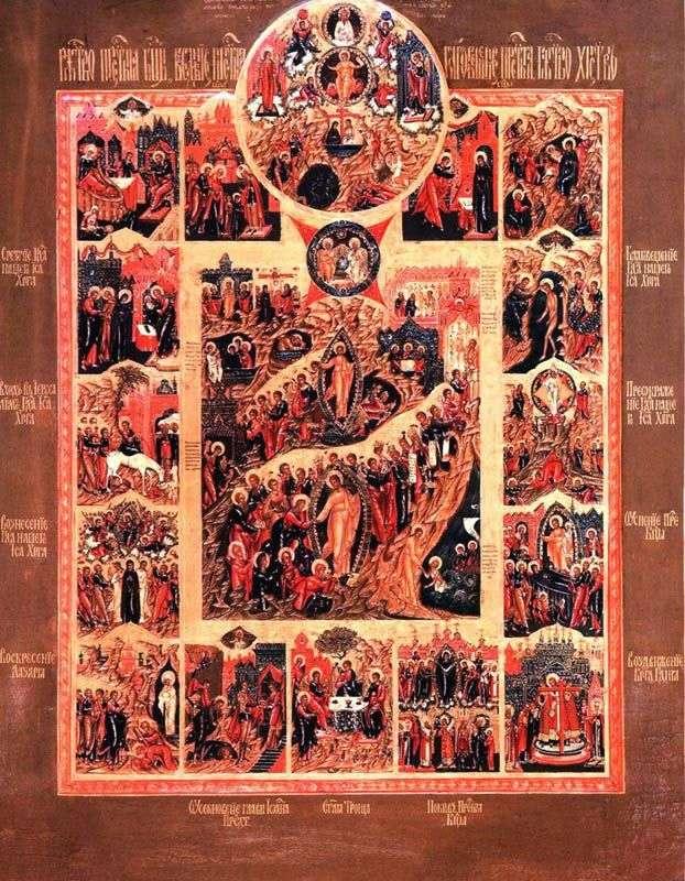 Zmartwychwstanie Chrystusa ze sceną Jednorodzonego Syna i święta w 12 cechach charakterystycznych