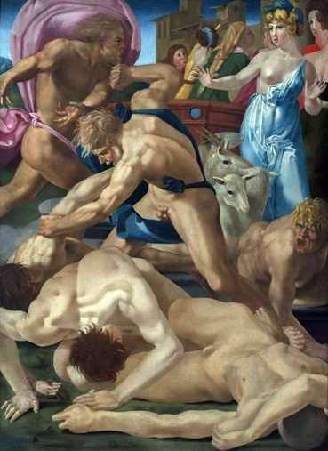 Mojżesz chroni córki Jethro   Fiorentino Rosso