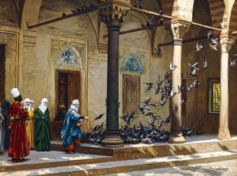 Kobiety haremu karmiły gołębie   Jean Leon Jerome