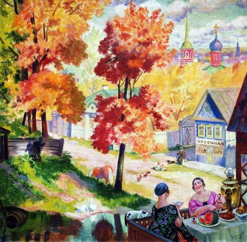 Jesień w prowincji. Picie herbaty   Boris Kustodiew