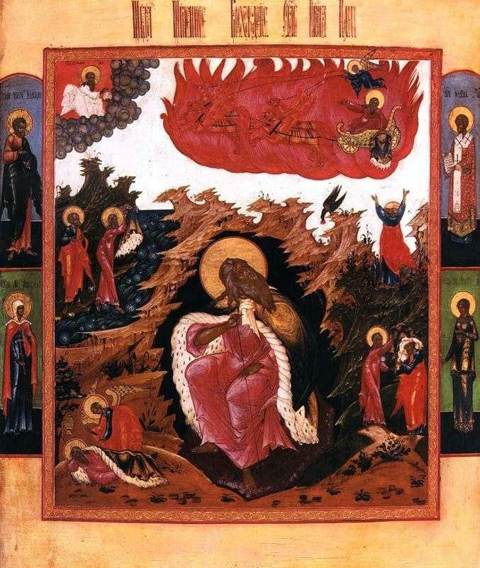 Prorok Eliasza na puszczy ze scenami życia i ognistym wynurzeniem