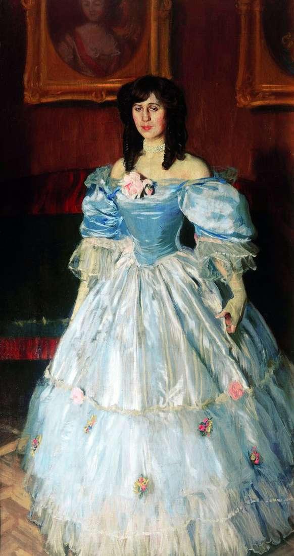 Portret kobiety w kolorze niebieskim   Boris Kustodiew