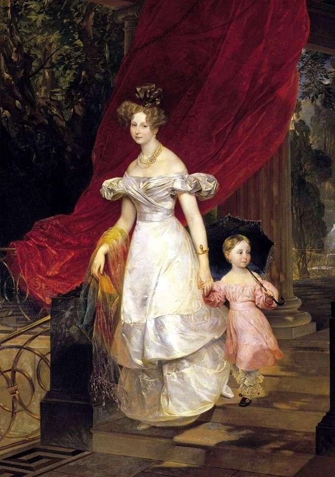 Portret Vel. Prince Elena Pavlovna z córką   Karl Bryullov