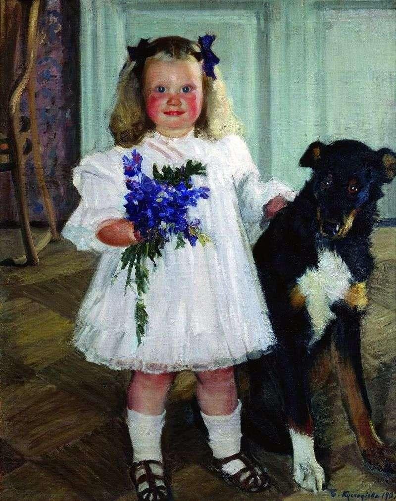 Portret Iriny Kustodiyevy z psem Shumki   Borisem Kustodiyevem