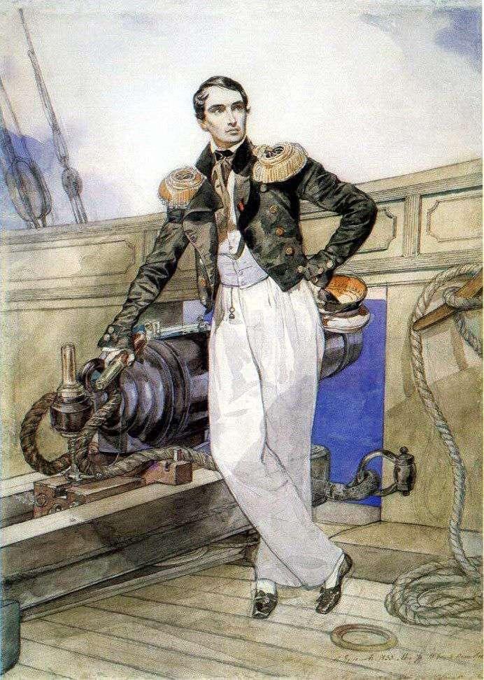 Portret Vladimira Kornilova na desce Themistokl bryg   Karl Bryullov