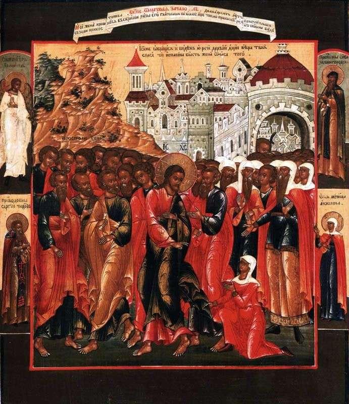 Uzdrowienie krwawiącej żony z aniołem stróżem i trzema świętymi na polach