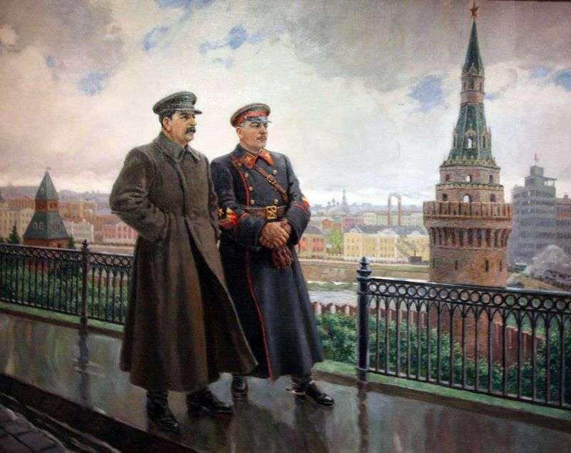 I. V. Stalin i K. Ye. Woroszyłow na Kremlu   Aleksander Gierasimow