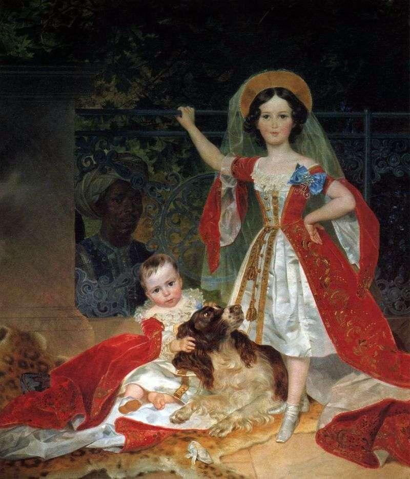 Portret dzieci księcia Wołkonskiego z arap   Karl Bryullov
