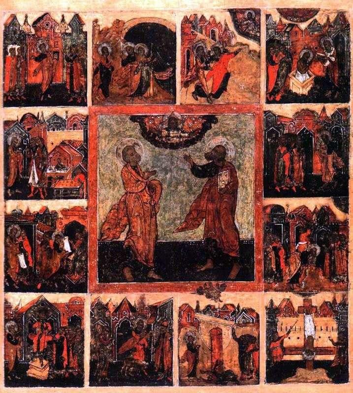Pierwsi Apostołowie Piotr i Paweł, z czynami w 12 pieczęciach