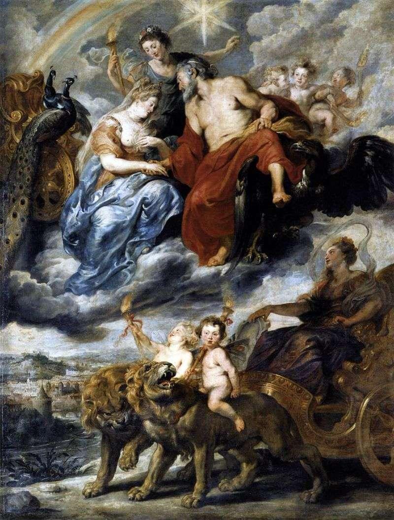 Maria de Medici i spotkanie Henryka IV w Lyonie   Peter Rubens