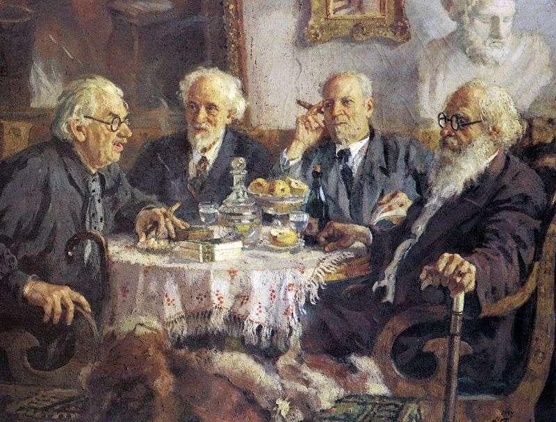 Portret najstarszych sowieckich artystów I. Pawłowa, W. Bakshejew, V. Bialynitsky Birulya i V. Meshkov   Alexander Gerasimov