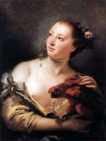 Dziewczyna z papugą   Giovanni Battista Tiepolo