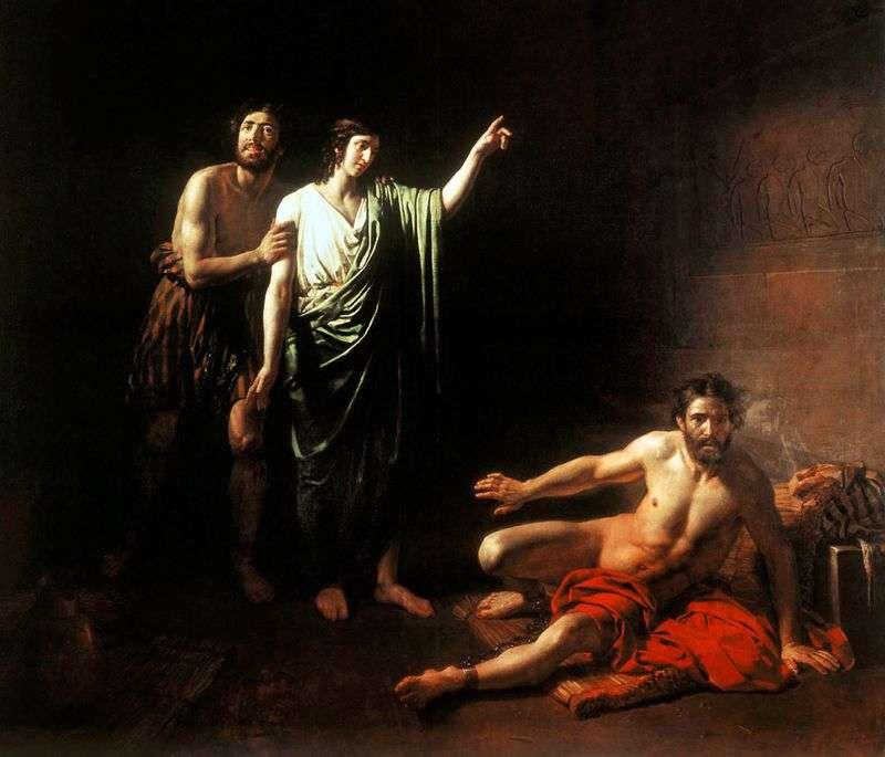 Józef, interpretując sny lokaja i piekarza uwięzionego z nim w więzieniu   Aleksander Iwanow