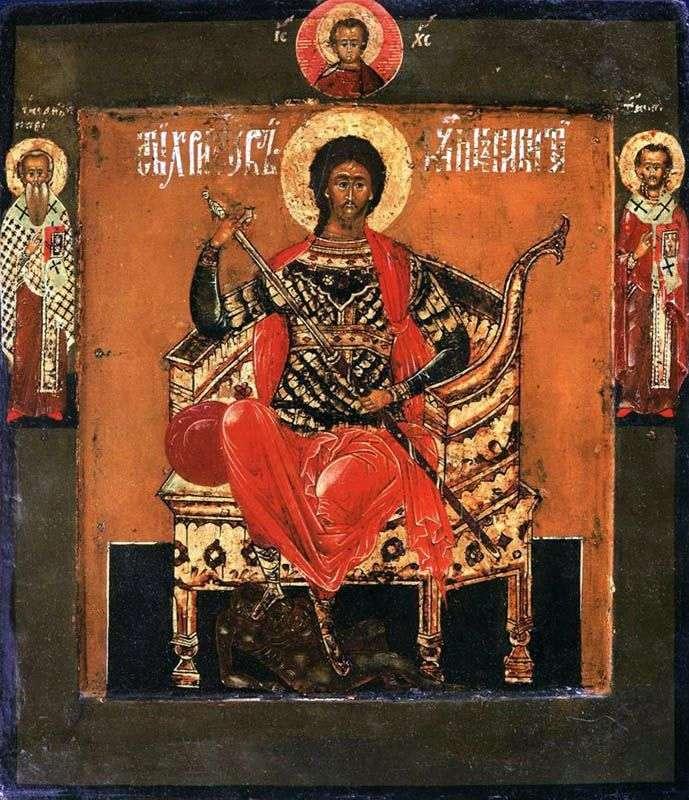 Święty Wielki Męczennik Nikita na tronie, ze świętymi na polach