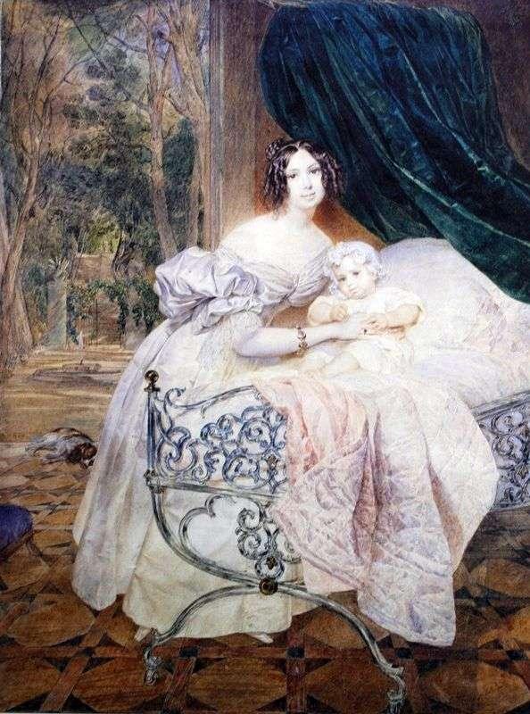 Portret M. I. Buteneva z córką   Karl Bryullov