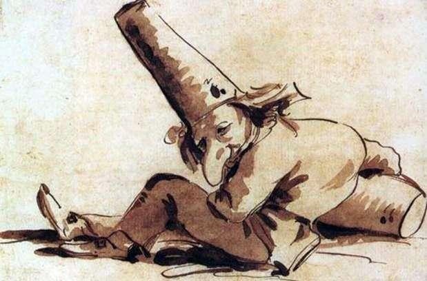Pulcinelli, siedząc na ziemi   Giovanni Battista Tiepolo