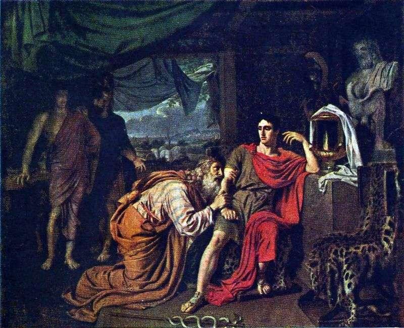 Priam, pytając o ciało Hectora od Achillesa   Aleksandra Iwanowa