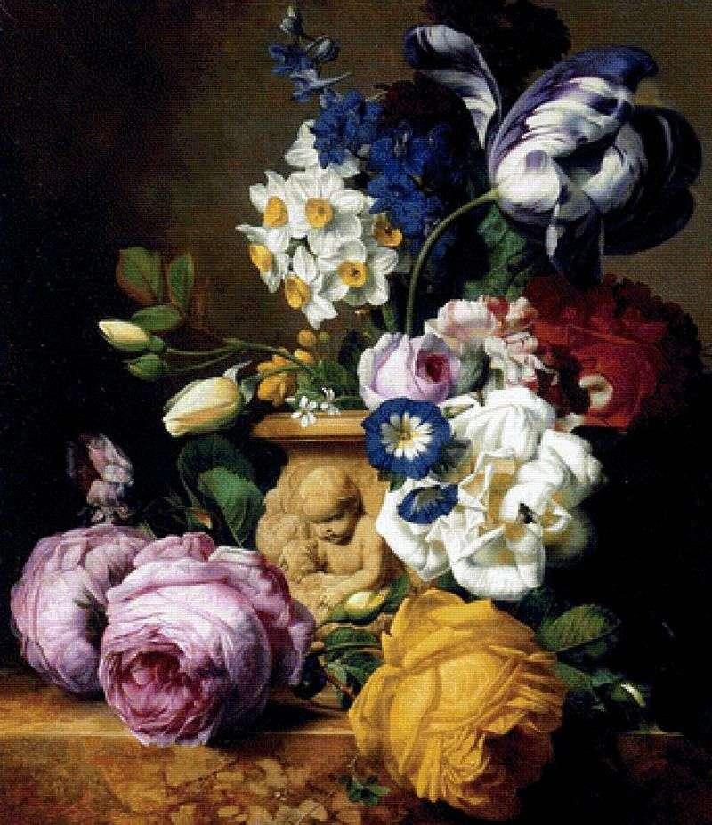 Róże, tulipany, delfiny, piwonie i żonkile w wazonie   Charles Joseph Nowd