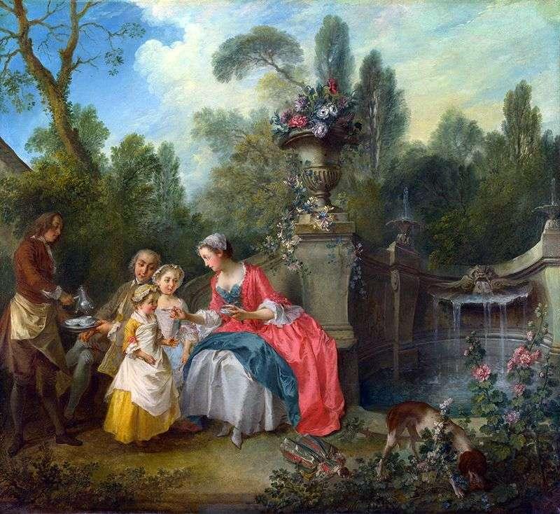Pani i dżentelmen z dwiema dziewczynami w ogrodzie   Nicola Lancre