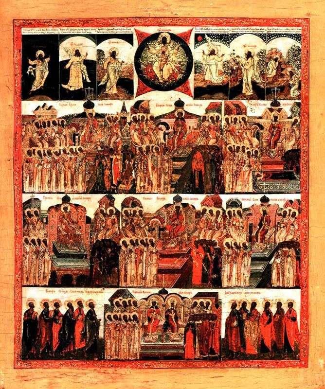 Siedem soborów ekumenicznych ze stworzeniem świata i sobór dwunastu apostołów