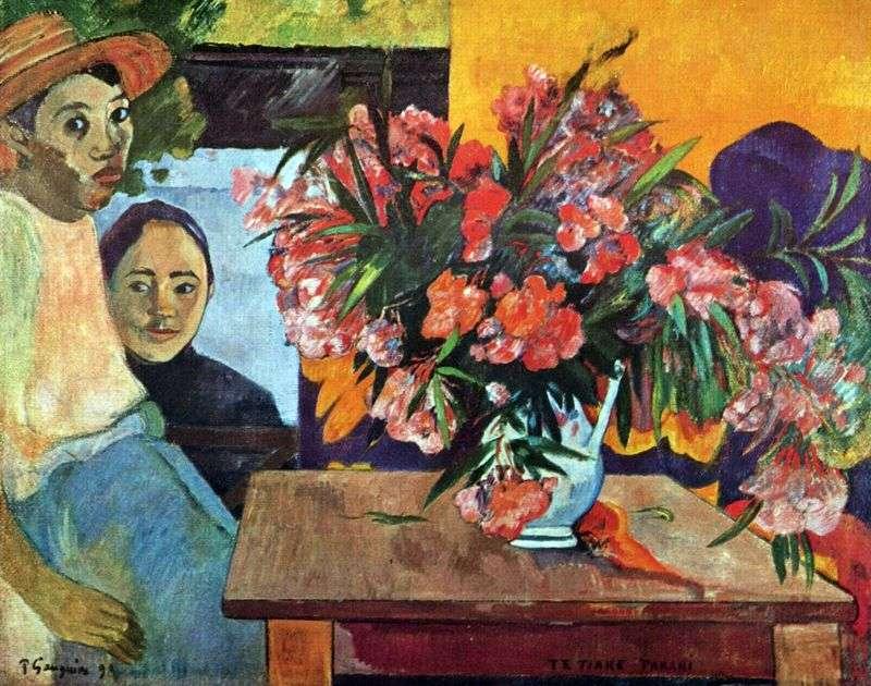 Duży bukiet kwiatów i tahitańskich dzieci   Paul Gauguin