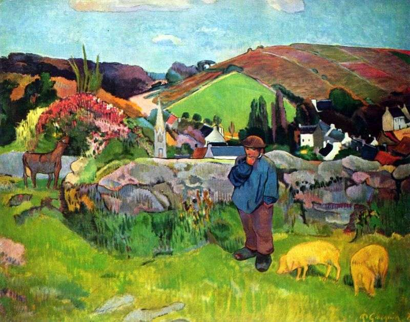 Krajobraz bretoński ze świniopasami   Paul Gauguin