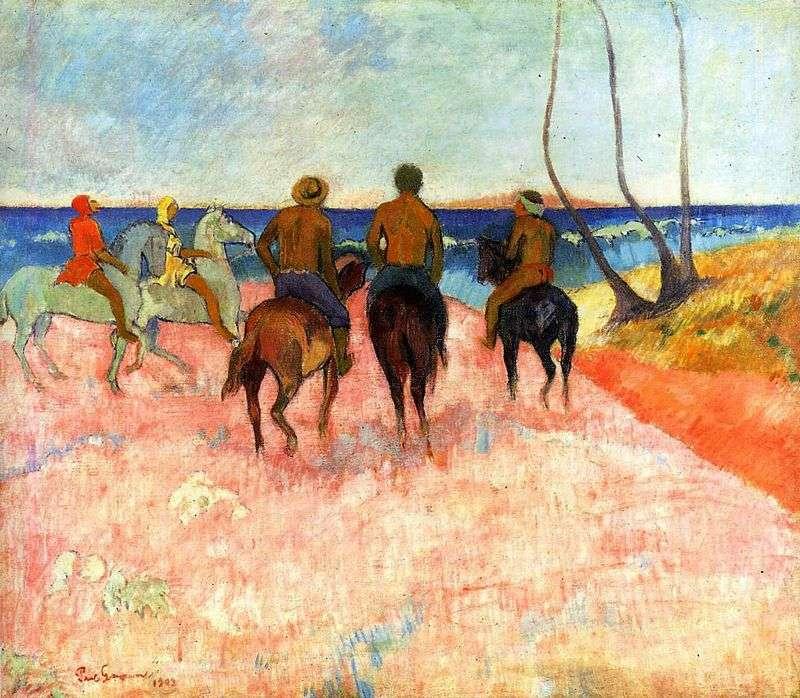 Jeźdźcy na brzegu   Paul Gauguin