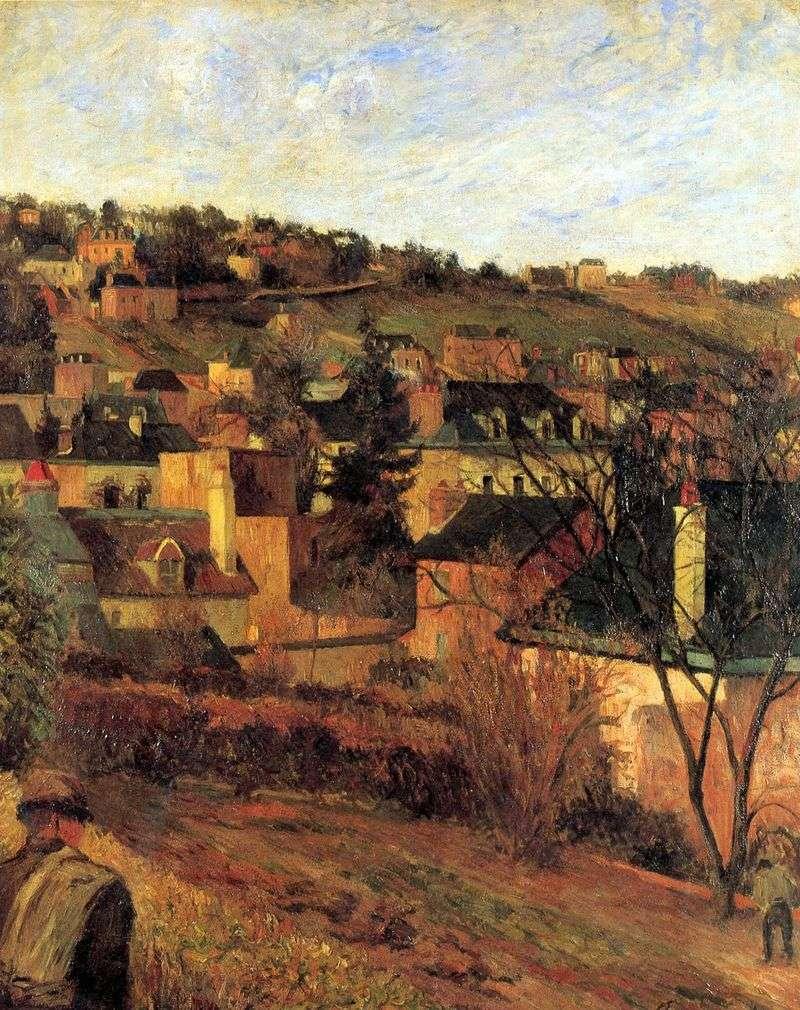 Niebieskie dachy w pobliżu Rouen   Paul Gauguin