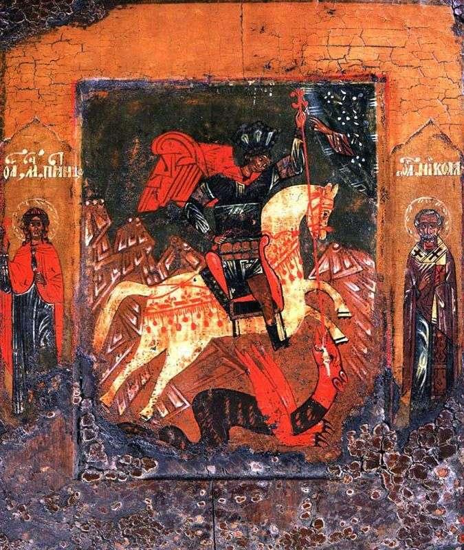 Cud św. Jerzego Węża, z Paraskewą Piątek i Nicola Cudotwórcą na polach