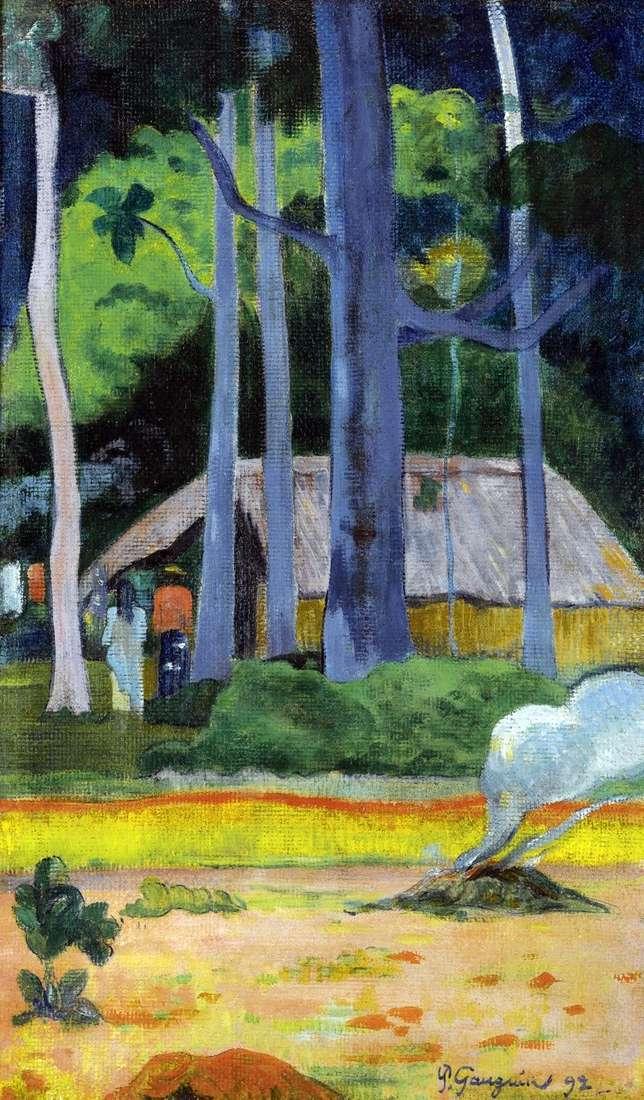 Dom pod drzewami   Paul Gauguin