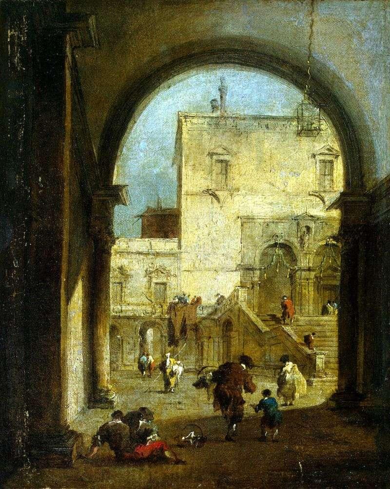 Widok na plac z pałacem   Francesco Guardi