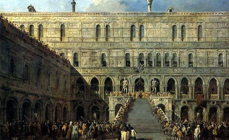 Koronacja doża na schodach gigantów w Pałacu Dożów   Francesco Guardi