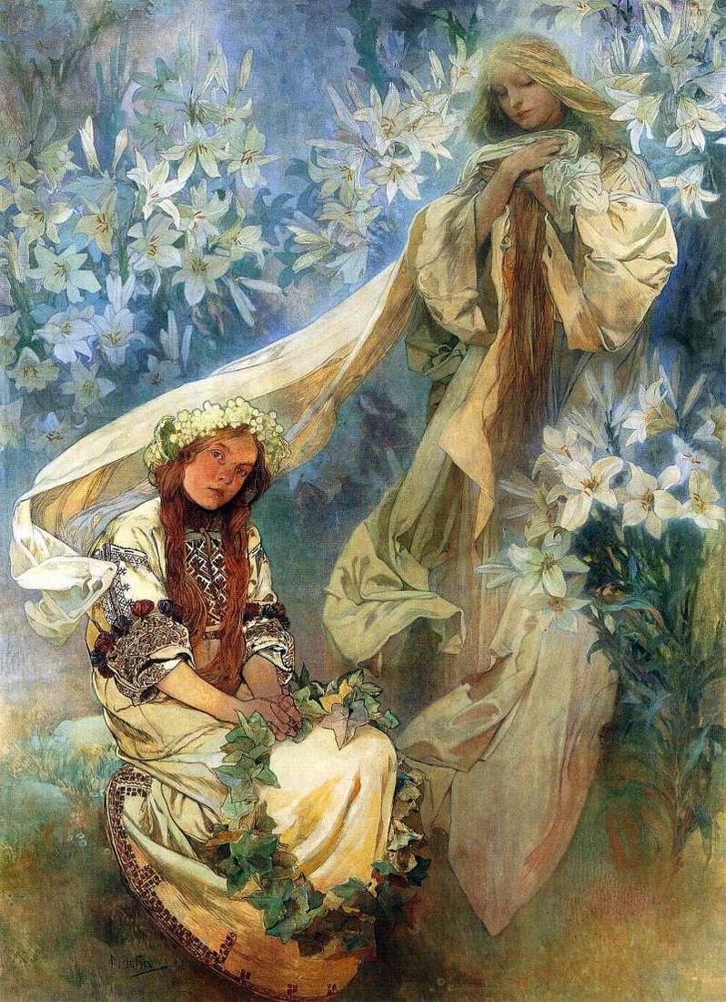 Maria Madonna z Lilii   Alphonse Mucha