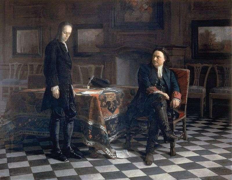 Piotr I przesłuchuje carewicza Aleksieja w Peterhofie   Nikolay Ge