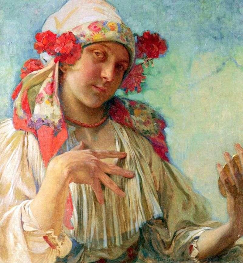 Młoda dziewczyna w stroju morawskim   Alphonse Mucha