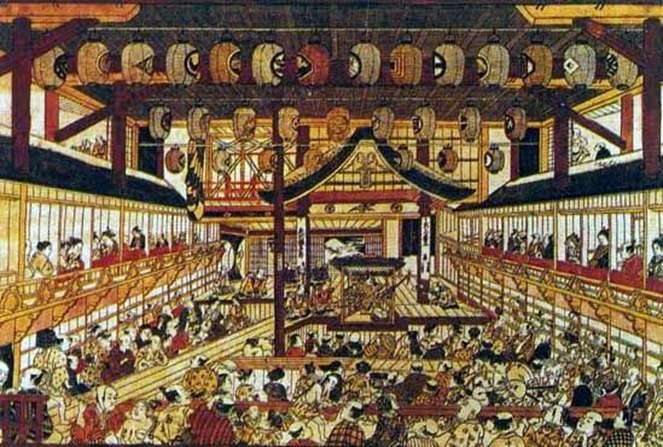 Duży grawerunek perspektywiczny z wizerunkiem wszystkich gwiazd teatru   Okumura Masanobu